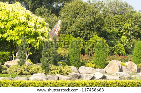 decoration in the park, beautiful rock garden