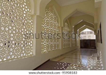 Decoration of Bastakiya Mosque in Dubai - The Bastakia quarter, or Bastakiya, is an area of Dubai on the Bur Dubai side of the Dubai Creek that dates from the 1890s.