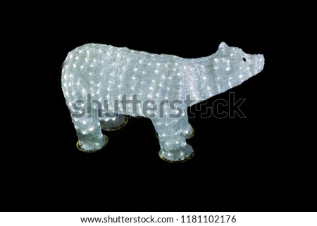 decoration of christmas lights in the form of polar bear xmas and new years light