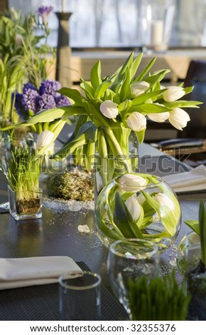 Decoration Of Dining Table Bouquet Of Hyacinth In Vase Of Glass Stock Photo