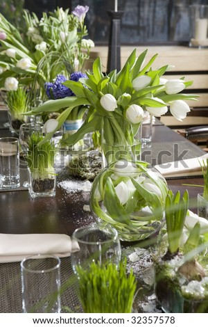 Decoration Of Dining Table Bouquet Of Tulip In Vase Of Glass Stock Photo 32