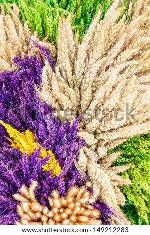Decoration of dried flowers