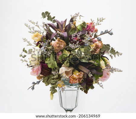 Decoration of dried flowers. Roses.