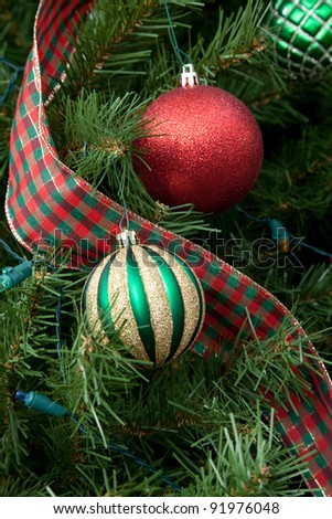 decoration of ribbon and bow on a holiday tree