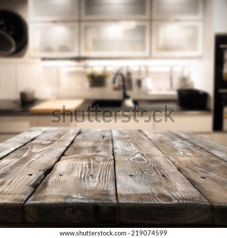 decoration of table in dark brown color and kitchen