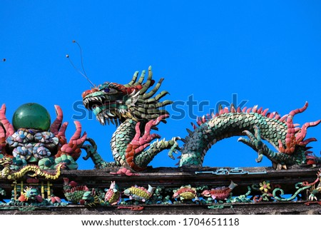 Decoration of The pogoda Fujian Assembly Hall. Fukian Assembly Hall or Phuc Kien in the Hoi An ancient town in Quang Nam Province of Vietnam. Zdjęcia stock ©
