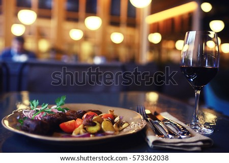 decoration of the table in the Italian restaurant