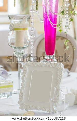 decoration of wedding table with decorative frame.Wedding invitation