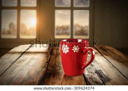 decoration of xmas mug and table place with shadows