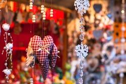 decoration on christmas market, close up of cozy handmade heart
