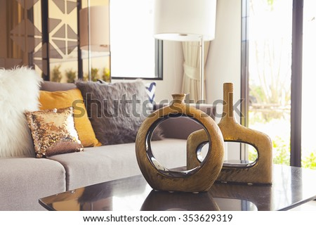 decoration vase on the table in living room #353629319