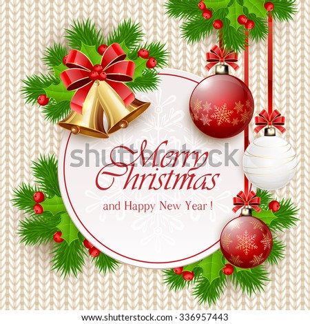 Decoration with Christmas balls, holly berry, golden bells, beads and fir tree branches on white knitted pattern, illustration. #336957443