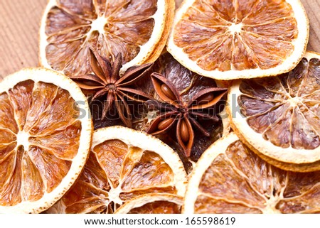 Decoration with dried orange peels,  spices - cinnamon  and anise stars