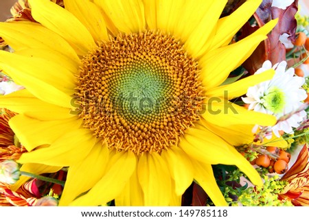 decoration with flowers, sunflowers