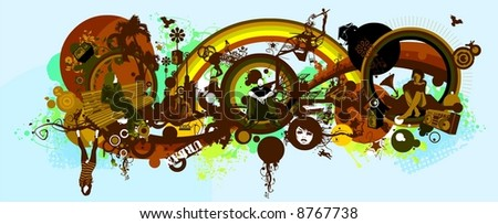decoration with music,buildings and silhouettes, people relaxing