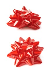 Decorational red ribbon gift bow isolated over the white background, set collection of two diffirent foreshortenings