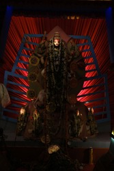 Decorations and lightnings of Durgapuja pandals in Kolkata. Indian festivals and religion