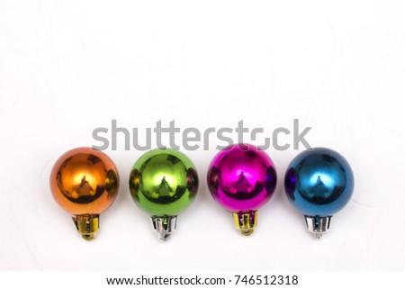 decorations for the Christmas tree colored balls and star #746512318