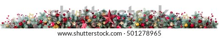 Decorations Of Fir Branches And Baubles On White - Christmas Border  #501278965