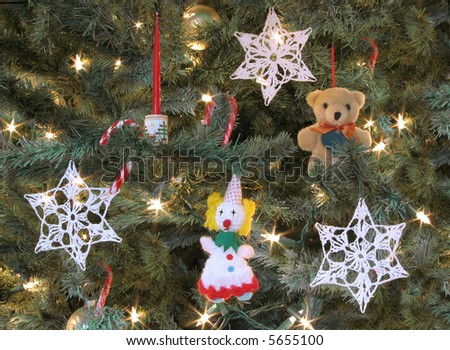 Old Fashioned Christmas Decorations decorations on an old-fashioned christmas tree stock photo 5655100