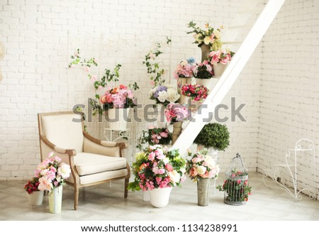 Decorations with armchair  and flowers composition on ceremony place& Romantic space decor
