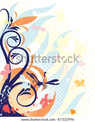Decorations with blue floral. Raster version. Vector version is also available.