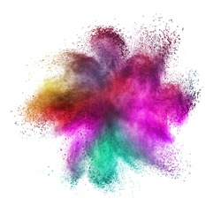 Decorative abstract chaotic powder or dust colorful explosion on a white background with copy space.