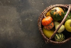 Decorative and edible pumpkins in a wicker basket on a green background, top view, autumn background, copy space