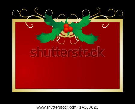 Decorative and festive holly frame perfect for holiday use.