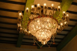 Decorative and vibrant chandelier at  Durgapuja pandals in Kolkata. Indian festivals and religion