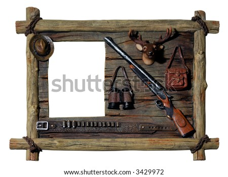 Decorative artistic wooden picture frame Hunter theme Isolated silhouette over white background with a clipping path
