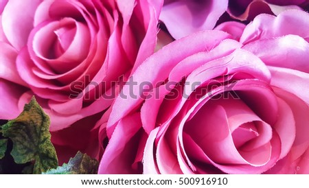 Decorative background artificial  roses  on a wall. #500916910