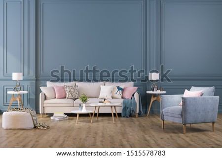 Photo of  Decorative background for home, office and hotel. Modern interior design living room sofa and modern interior details on a dark wall background.