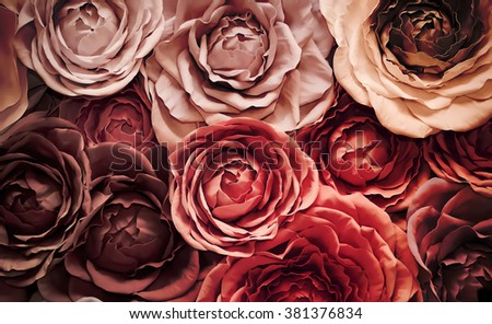 Decorative background made of artificial flowers roses #381376834