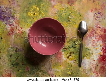 decorative background with plate and spoon   Stock fotó ©