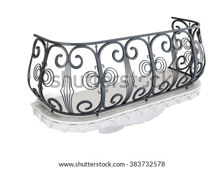 Decorative balcony on a white background. 3d rendering.