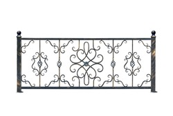 Decorative,  banisters fence for the park and at home. Isolated over white background.