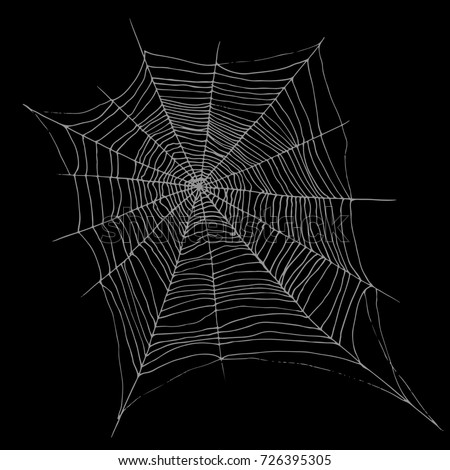 Decorative beautiful spider web, cartoon sketch style, white color, isolated on black background.Raster backdrop cobweb for halloween.