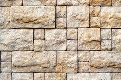 Decorative Beige Stone Random Size Brick Wall Texture For Your Design.