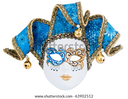 Decorative blue and white Venetian carnival mask, isolated on white background.