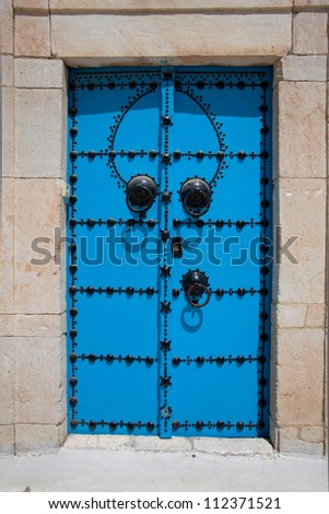 Decorative blue door at Sidi Bou Said, Tunisia