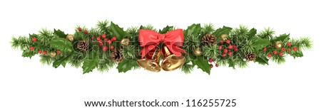 Decorative border from a Christmas tree branches, a holly and bells with a ribbon.