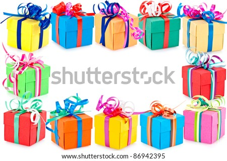 Decorative border of colorful wrapped presents or gifts with white background.