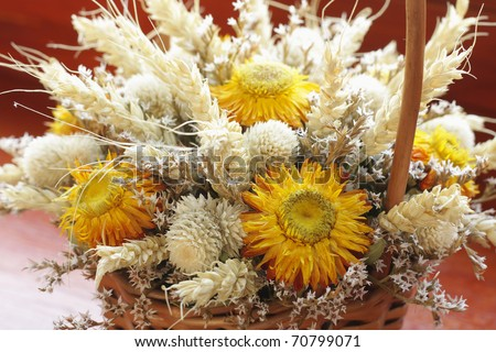 Decorative bouquet of dried flowers