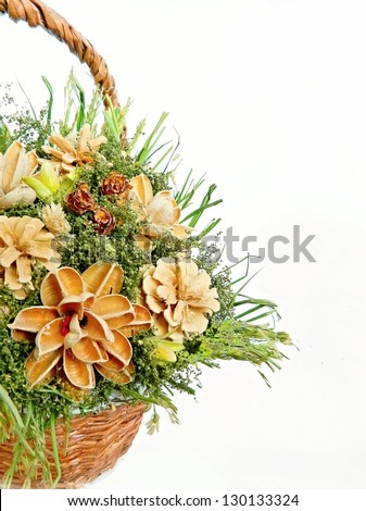 Decorative bouquet of dried flowers on white background