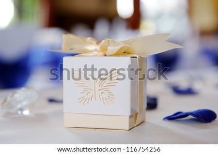 Decorative box closeup at wedding reception