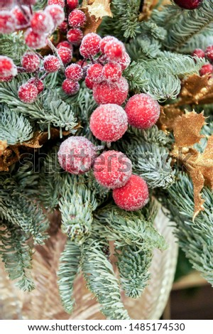 Decorative branch with berries. Christmas tree decorations and decorations in the design.