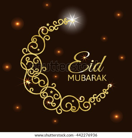 Decorative card with gold crescent. Eid al adha card Isolated on abstract background. Eid mubarak islamic celebration card. #442276936