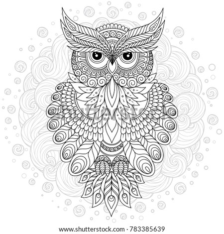 Decorative cartoon owl in zentangle style. Page for adult coloring book.Hand drawn  illustration isolated on white.