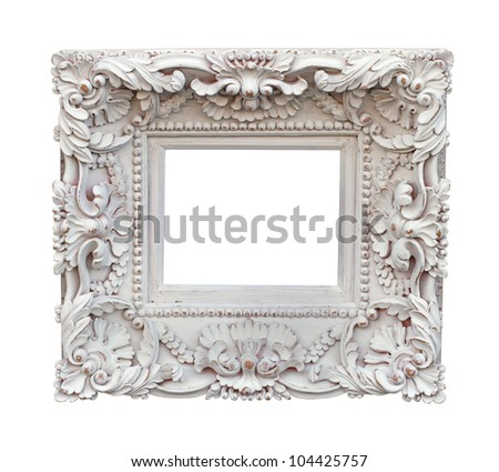 Decorative carved white frame isolated with clipping path included